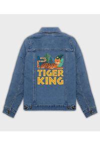 MegaKoszulki - Kurtka jeansowa damska Tiger King. Materiał: jeans. Wzór: nadruk. Sezon: wiosna. Styl: klasyczny
