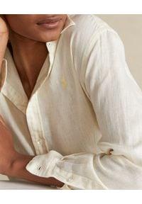 Ralph Lauren - RALPH LAUREN - Żółta lniana koszula Relaxed Fit. Typ kołnierza: polo. Kolor: żółty. Materiał: len. Długość rękawa: długi rękaw. Długość: długie