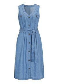 Cellbes Dżinsowa sukienka bez rękawów błękitny female niebieski 34/36. Typ kołnierza: dekolt w serek. Kolor: niebieski. Długość rękawa: bez rękawów