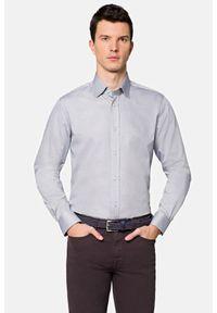 Lancerto - Koszula Szara w Mikrowzór Blair. Kolor: szary. Materiał: bawełna, jeans, tkanina, wełna