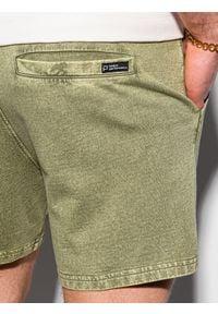 Ombre Clothing - Krótkie spodenki męskie dresowe W293 - oliwkowe - XXL. Kolor: oliwkowy. Materiał: dresówka. Długość: krótkie. Sezon: lato