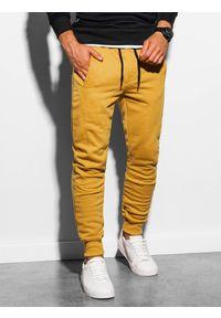 Ombre Clothing - Spodnie męskie dresowe joggery P867 - żółte - XXL. Kolor: żółty. Materiał: dresówka #5