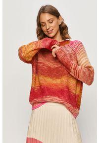 Pomarańczowy sweter Noisy may z okrągłym kołnierzem, długi