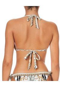 Camilla - CAMILLA - Trójkątny top od bikini Gates of Glory. Kolor: biały. Materiał: tkanina. Wzór: aplikacja, motyw zwierzęcy