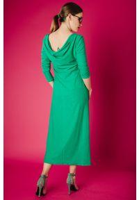 Zielona sukienka Hultaj Polski z aplikacjami, z dekoltem woda, na spacer