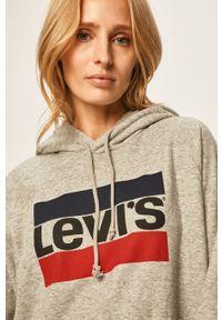 Levi's® - Levi's - Bluza. Okazja: na spotkanie biznesowe. Kolor: szary. Materiał: dzianina. Długość rękawa: raglanowy rękaw. Wzór: nadruk. Styl: biznesowy
