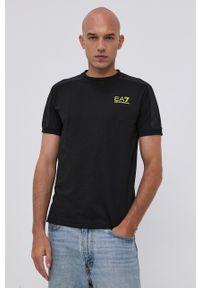 EA7 Emporio Armani - T-shirt. Okazja: na co dzień. Kolor: czarny. Materiał: dzianina. Wzór: nadruk. Styl: casual