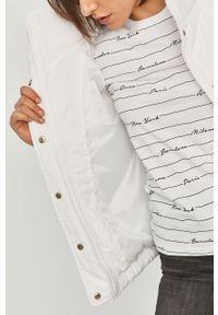 Biała kurtka Answear Lab gładkie, bez kaptura, na co dzień, wakacyjna