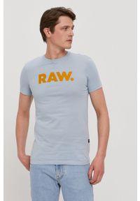 G-Star RAW - G-Star Raw - T-shirt. Okazja: na co dzień. Kolor: niebieski. Wzór: nadruk. Styl: casual