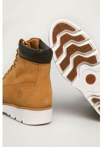 Złote buty trekkingowe Timberland na sznurówki, z okrągłym noskiem, z cholewką