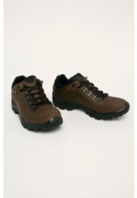 Brązowe sneakersy Wojas na sznurówki, z cholewką
