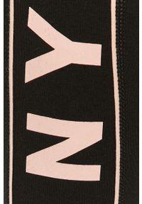 Czarne legginsy DKNY z podwyższonym stanem, z nadrukiem