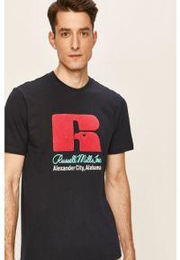 Niebieski t-shirt Russell Athletic z aplikacjami, casualowy, na co dzień