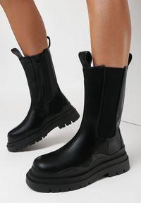 Born2be - Czarne Botki Tryphyle. Wysokość cholewki: przed kolano. Nosek buta: okrągły. Zapięcie: zamek. Kolor: czarny. Szerokość cholewki: normalna. Obcas: na obcasie. Wysokość obcasa: niski