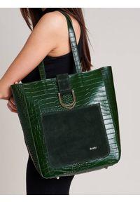 ROVICKY - Shopper bag zielony Rovicky TWR-105 CRO ZIELONY. Kolor: zielony. Wzór: aplikacja. Materiał: skórzane. Rozmiar: duże. Styl: klasyczny, elegancki. Rodzaj torebki: na ramię