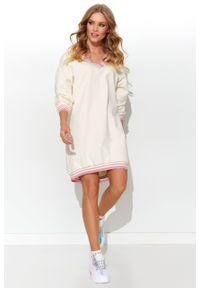 e-margeritka - Sukienka dresowa bawełniana śmietankowa - 38. Okazja: na co dzień. Materiał: dresówka, bawełna. Typ sukienki: proste. Styl: casual. Długość: mini