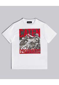 DSQUARED2 KIDS - Biała koszulka z nadrukiem 4-12 lat. Kolor: biały. Materiał: jersey, bawełna. Wzór: nadruk. Sezon: lato