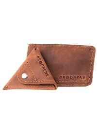 Skórzany zestaw portfel i bilonówka BRODRENE SW02 + CW01 jasnobrązowy. Kolor: brązowy. Materiał: skóra