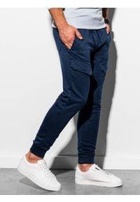 Ombre Clothing - Spodnie męskie dresowe joggery P904 - granatowe - XXL. Kolor: niebieski. Materiał: dresówka