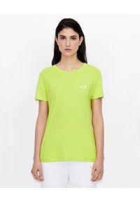 Zielony t-shirt Armani Exchange z napisami, na co dzień