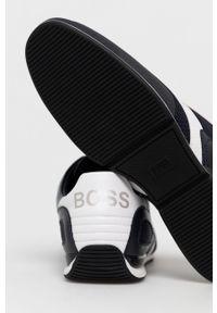 Niebieskie sneakersy BOSS z okrągłym noskiem, na sznurówki, z cholewką