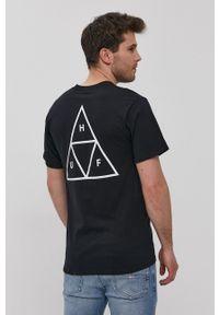 HUF - T-shirt. Okazja: na co dzień. Kolor: czarny. Materiał: dzianina. Wzór: nadruk. Styl: casual