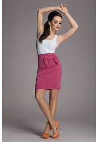 Różowa spódnica Figl w kolorowe wzory, na co dzień, casualowa