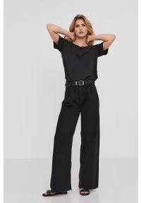 Czarna bluzka Answear Lab gładkie, wakacyjna