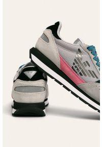 Szare buty sportowe Emporio Armani z cholewką, na sznurówki