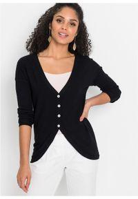 Sweter rozpinany bonprix czarny. Kolor: czarny