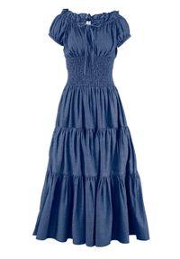 Niebieska sukienka bonprix na lato, z kołnierzem typu carmen