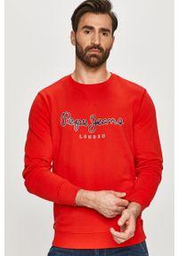 Czerwona bluza nierozpinana Pepe Jeans bez kaptura, na co dzień