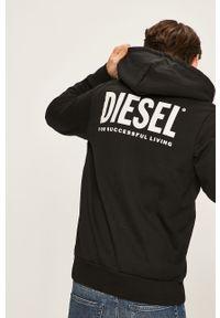 Czarna bluza rozpinana Diesel z kapturem, z nadrukiem