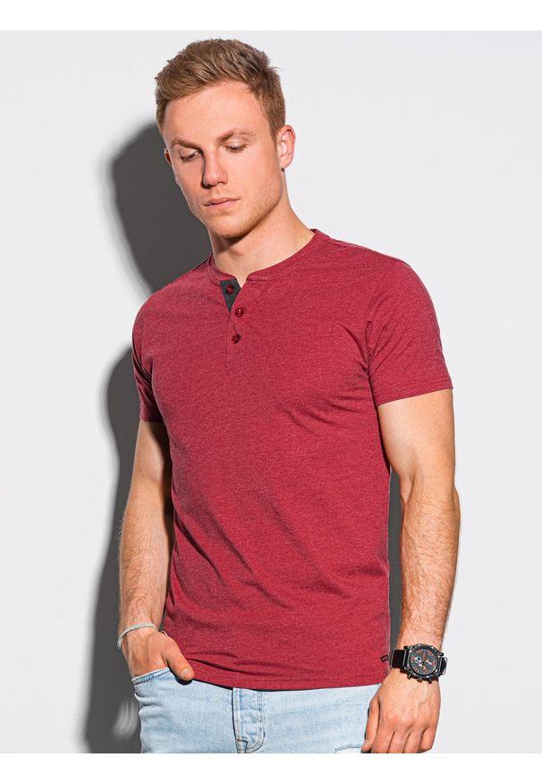 Ombre Clothing - T-shirt męski bez nadruku S1390 - czerwony - XXL. Typ kołnierza: polo. Kolor: czerwony. Materiał: bawełna, jeans, poliester