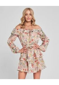 SELF LOVE - Różowa sukienka w kwiaty Ribera. Kolor: beżowy. Materiał: jedwab, materiał. Długość rękawa: długi rękaw. Wzór: kwiaty. Typ sukienki: rozkloszowane. Długość: mini