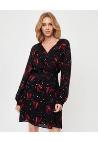 Pinko - PINKO - Czarna sukienka w tulipany Georgette. Okazja: na randkę. Kolor: czarny. Długość rękawa: długi rękaw. Wzór: kwiaty. Typ sukienki: tulipan. Styl: wizytowy