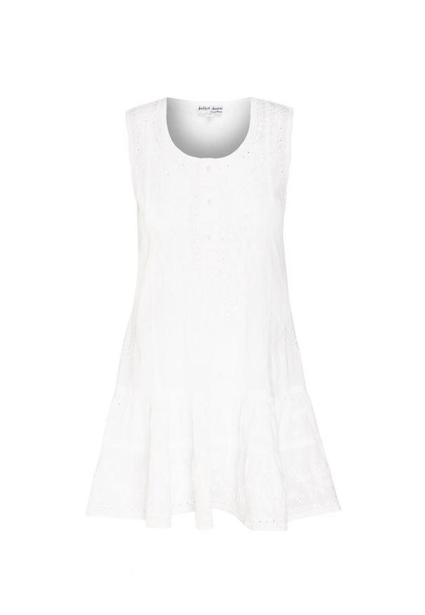 Biała sukienka Juliet Dunn z aplikacjami, z okrągłym kołnierzem, bez rękawów, mini