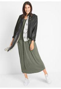 Zielona sukienka bonprix maxi, z krótkim rękawem