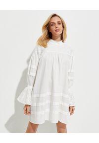 ONETEASPOON - Biała koronkowa sukienka mini. Kolor: biały. Materiał: koronka. Długość rękawa: długi rękaw. Wzór: ażurowy, koronka. Długość: mini