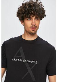 Czarny t-shirt Armani Exchange na co dzień, z nadrukiem