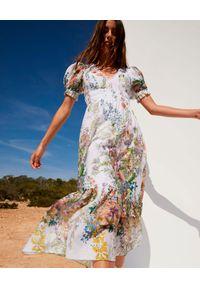 CHARO RUIZ IBIZA - Długa sukienka Liberty. Kolor: biały. Materiał: koronka, bawełna. Wzór: koronka, aplikacja, kwiaty. Długość: maxi
