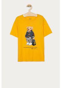 Żółty t-shirt Polo Ralph Lauren casualowy, na co dzień, polo, z nadrukiem