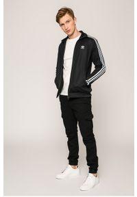 Czarna bluza rozpinana adidas Originals z aplikacjami, casualowa, na co dzień