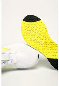 Białe buty sportowe adidas Performance na średnim obcasie, na sznurówki, na obcasie, z cholewką