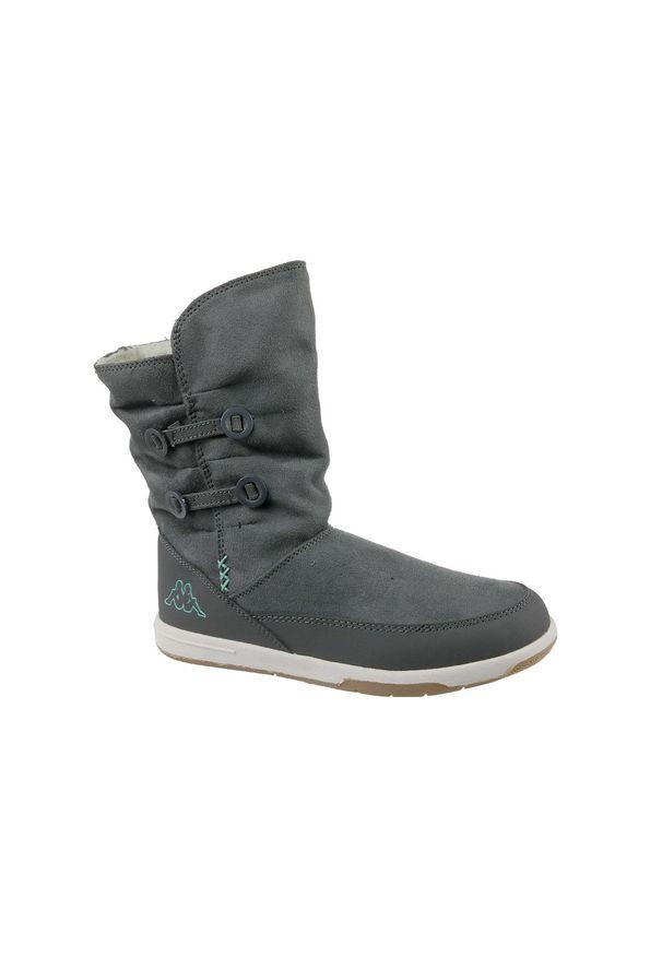 Szare buty trekkingowe Kappa z cholewką, na zimę, w kolorowe wzory