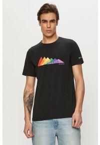 Czarny t-shirt columbia na co dzień, z nadrukiem