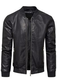 Czarna kurtka Recea ze stójką, w kolorowe wzory, klasyczna