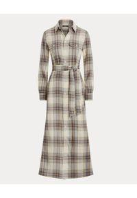 Beżowa sukienka Ralph Lauren na jesień, z długim rękawem
