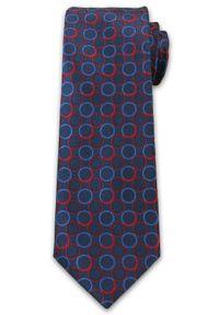 Stylowy Krawat Męski w Niebiesko-Czerwone Koła - Chattier- 6,7cm- Kolorowy. Kolor: niebieski. Materiał: tkanina. Wzór: geometria. Styl: elegancki