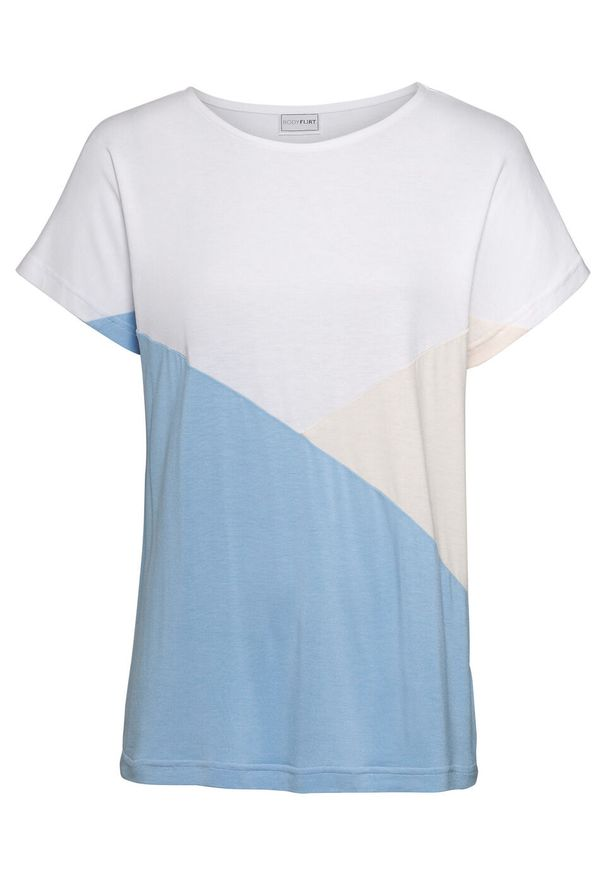 """Shirt """"color-blocking"""" bonprix biało-beżowo-jasnoniebieski. Kolor: biały. Długość rękawa: krótki rękaw. Długość: krótkie"""